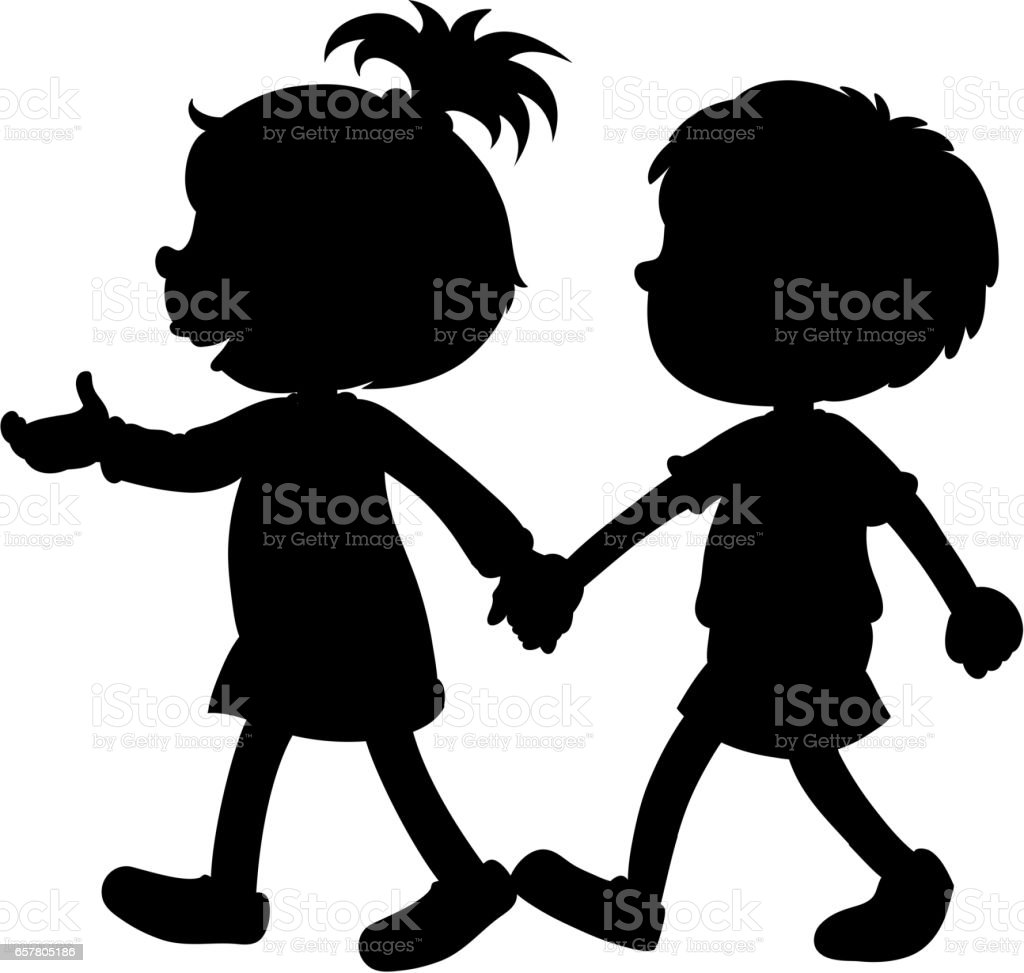 royalty free clip art of a black white children holding hands clip rh istockphoto com