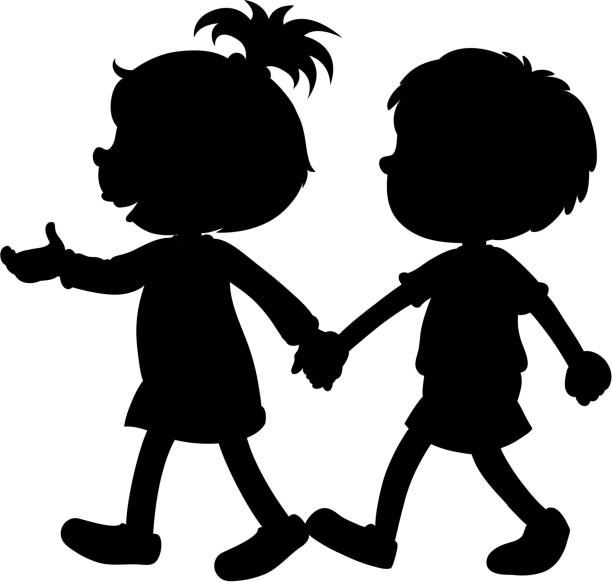 Black White Children Holding Hands Clip Art Illustrations ...