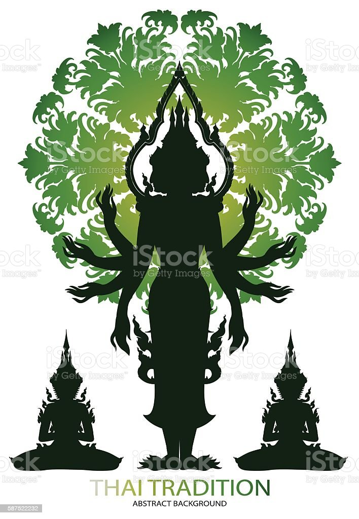 Silhouette Brahma rama and thai tradition pattern vector art illustration