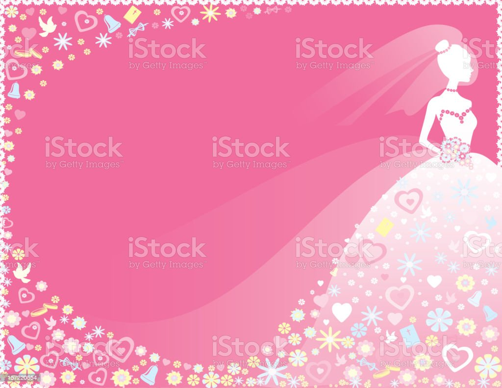 Silhouette Bride in Pink royalty-free stock vector art