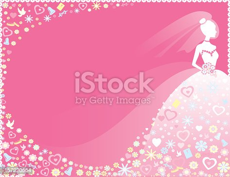 Pretty silhouette bride on pink background with pastel flowers, hearts, doves, wedding rings and bibles.
