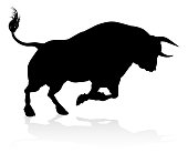 A high quality detailed bull male cow cattle animal silhouette