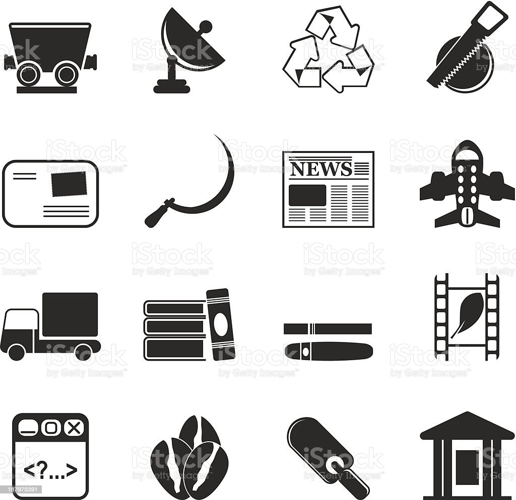 Silhouette Business and industry icons royalty-free silhouette business and industry icons stock vector art & more images of airplane