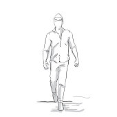Silhouette Business Man Making Step Forward Sketch Businessman Full Length Figure On White Background