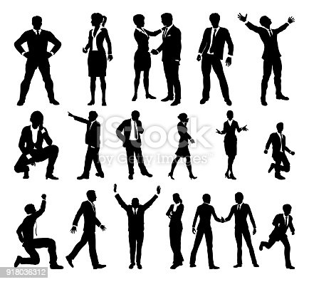 A set of very high quality business people or office worker silhouettes