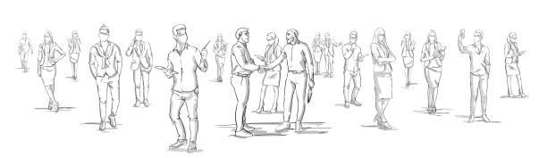剪影生意人握手與生意人小組在背景, 生意人握手水準橫幅 - 草圖 幅插畫檔、美工圖案、卡通及圖標