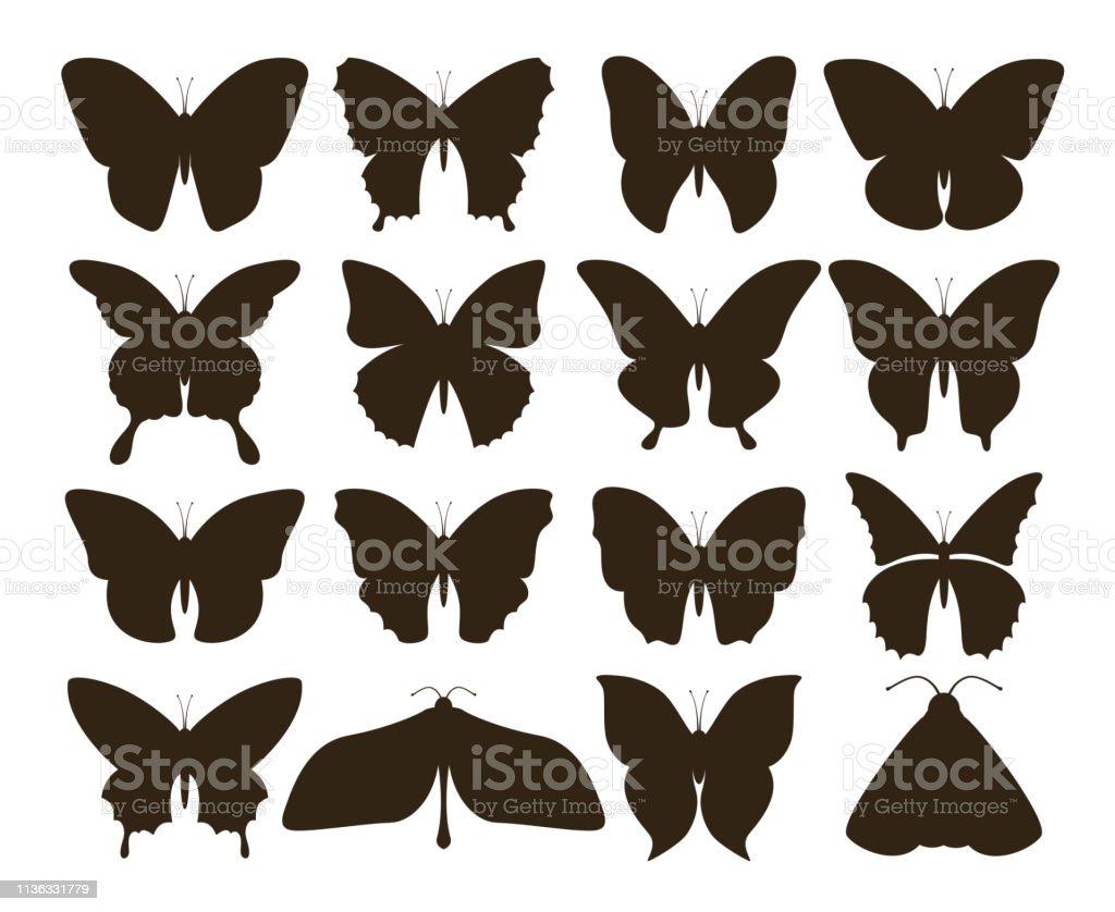 Papillons De Silhouette Simple Collection De Formes De