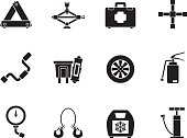 Silhouette car and transportation equipment icons