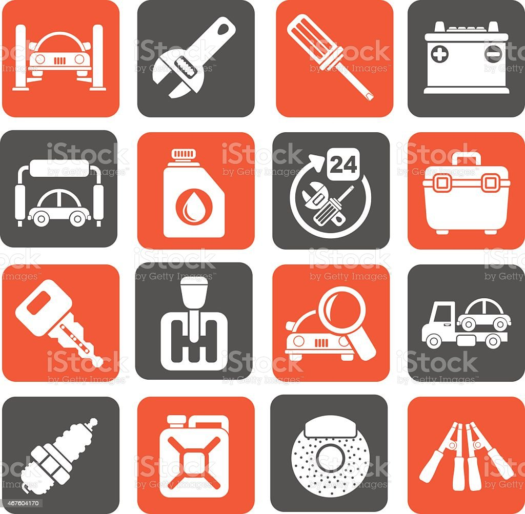 Silhouette Car parts and services icons vector art illustration