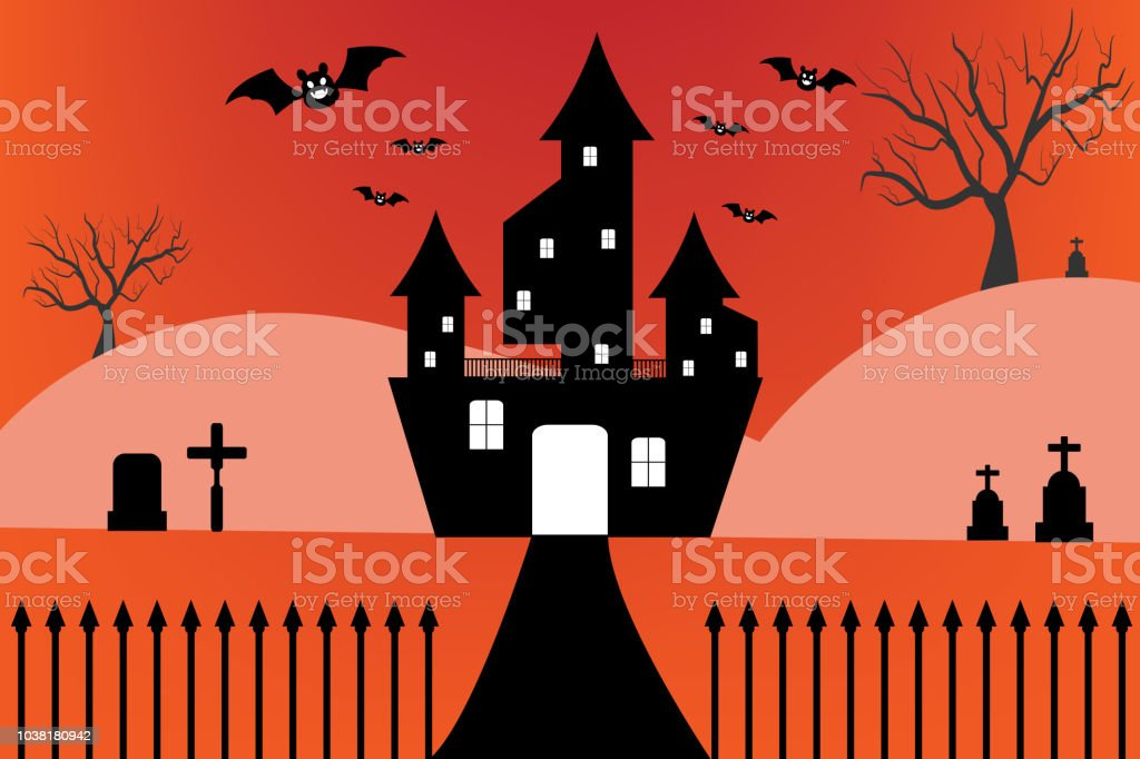Silhouette Castle with Spooky forest in Halloween night