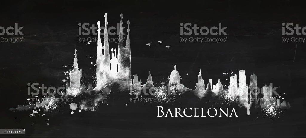 Silueta de tiza de Barcelona - ilustración de arte vectorial