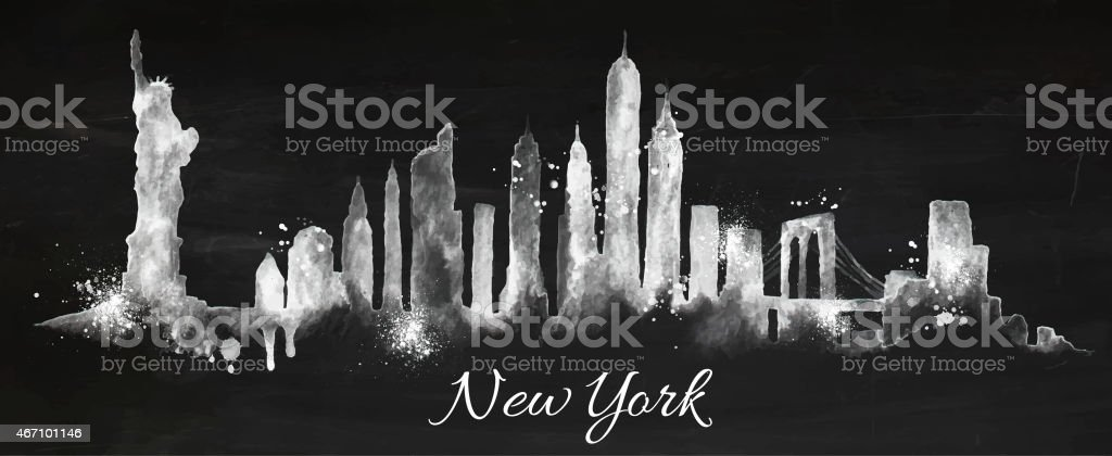 Silhouette chalk New york vector art illustration