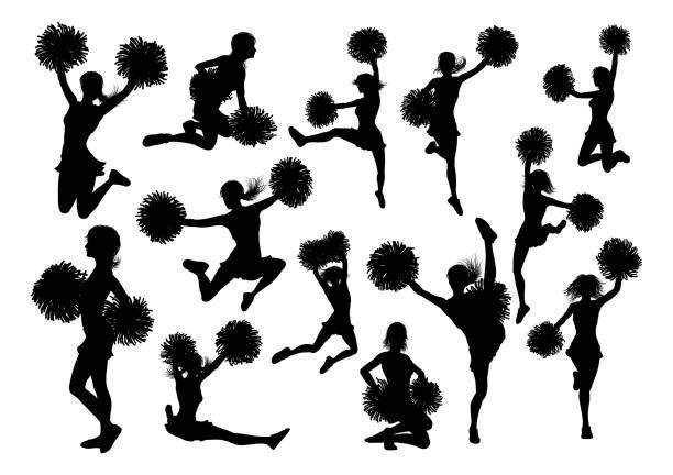 stockillustraties, clipart, cartoons en iconen met silhouet cheerleaders - pompon