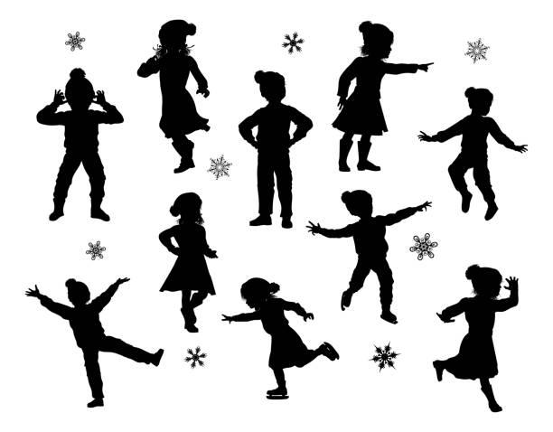 stockillustraties, clipart, cartoons en iconen met silhouet kinderen kerst winter kleding set - alleen één meisje
