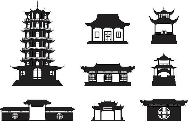 sylwetka chiński architektura - burma home do stock illustrations