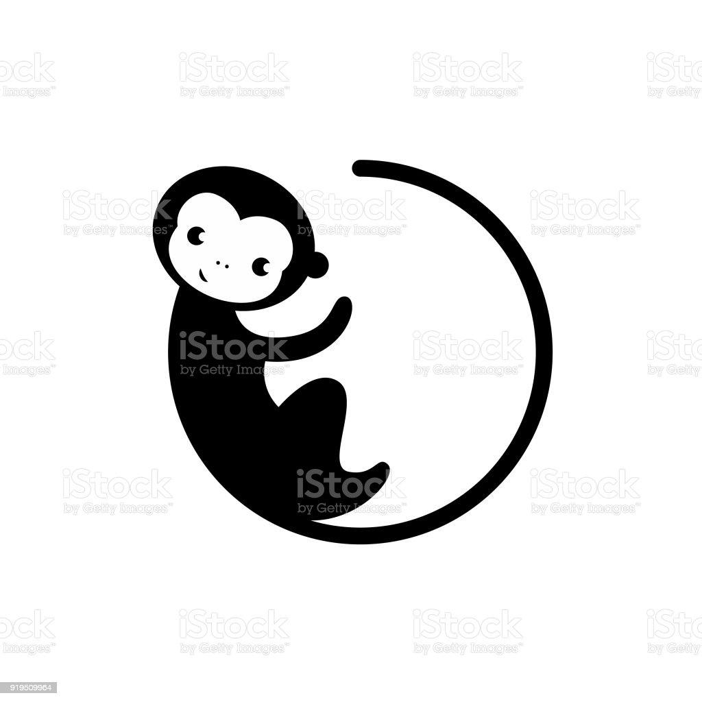 Silhouette Kreis Affe Icon Vektor im modernen flachen Stil für web – Vektorgrafik