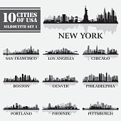 Silhouette city set of USA 1 on grey. Vector illustration. Full editable EPS 10. File contains gradients and transparency.