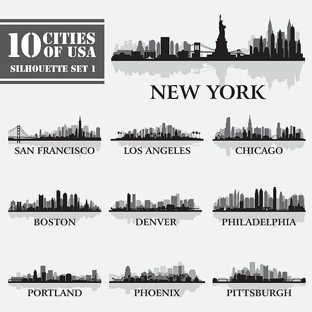 силуэт города набор сша 1 - los angeles stock illustrations