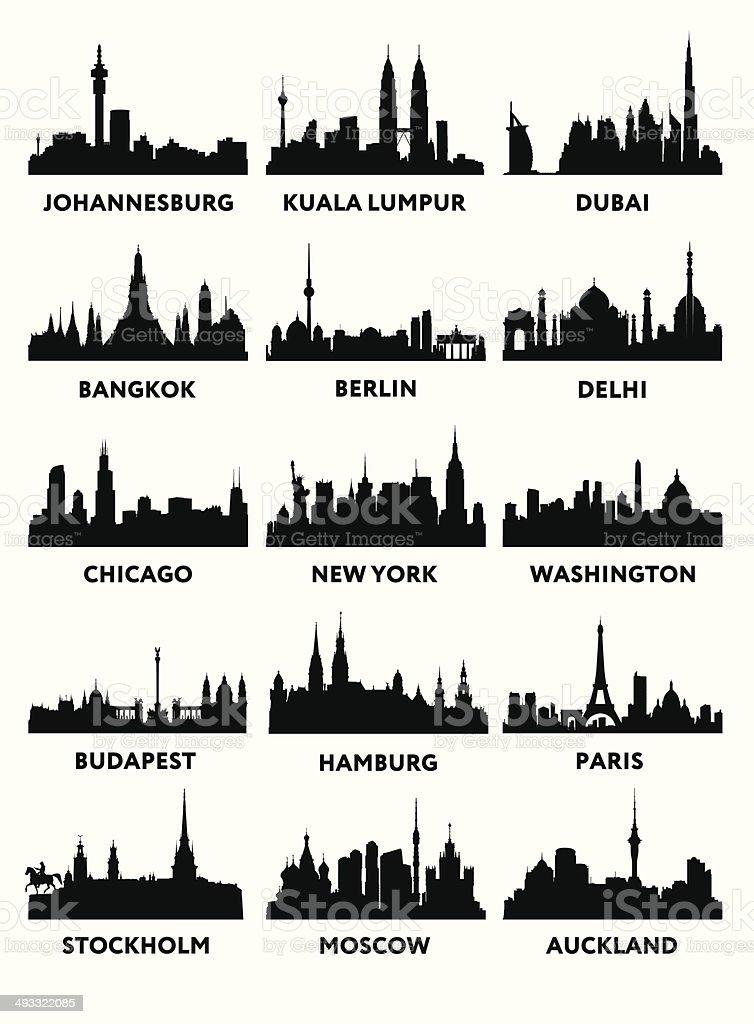 Silhouette Stadt – Vektorgrafik