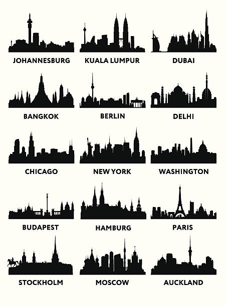 stockillustraties, clipart, cartoons en iconen met silhouette city - maleisië