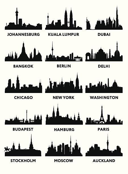 bildbanksillustrationer, clip art samt tecknat material och ikoner med silhouette city - skyline stockholm
