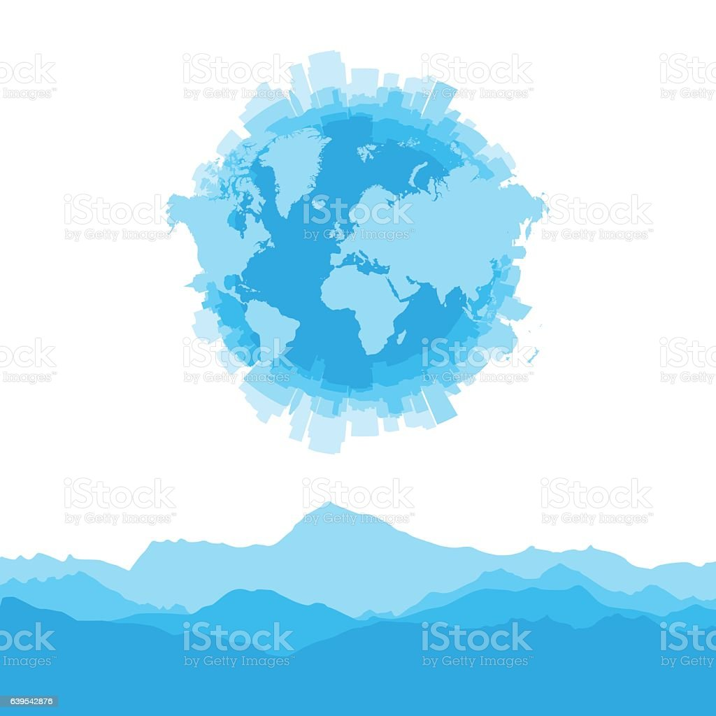 Silhouette City World Map And Mountains On White Background ...