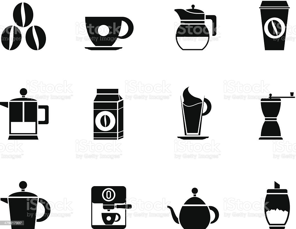 Silhouette coffee industry signs and icons vector art illustration