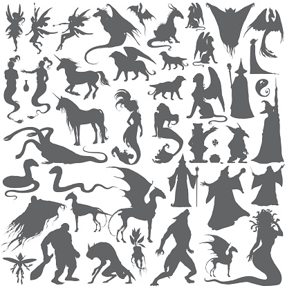 Silhouette collection of mythological people, monsters, creatures.