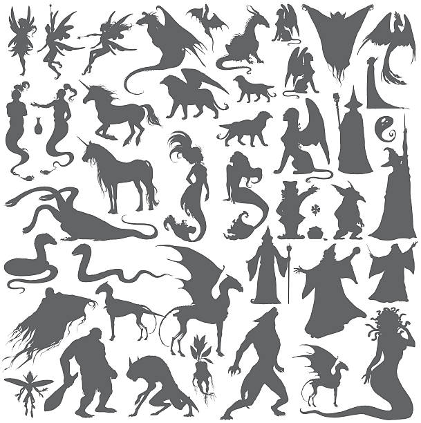 Silhouette collection of mythological people, monsters, creatures. Silhouette collection of mythological people, monsters, creatures: Fairy, elf, nymph,magician,unicorn,gin,dragon,hydra,chimera,mermaid,griffin,sphinx,vampire...Hand drawn vector illustration,set. rymdraket stock illustrations