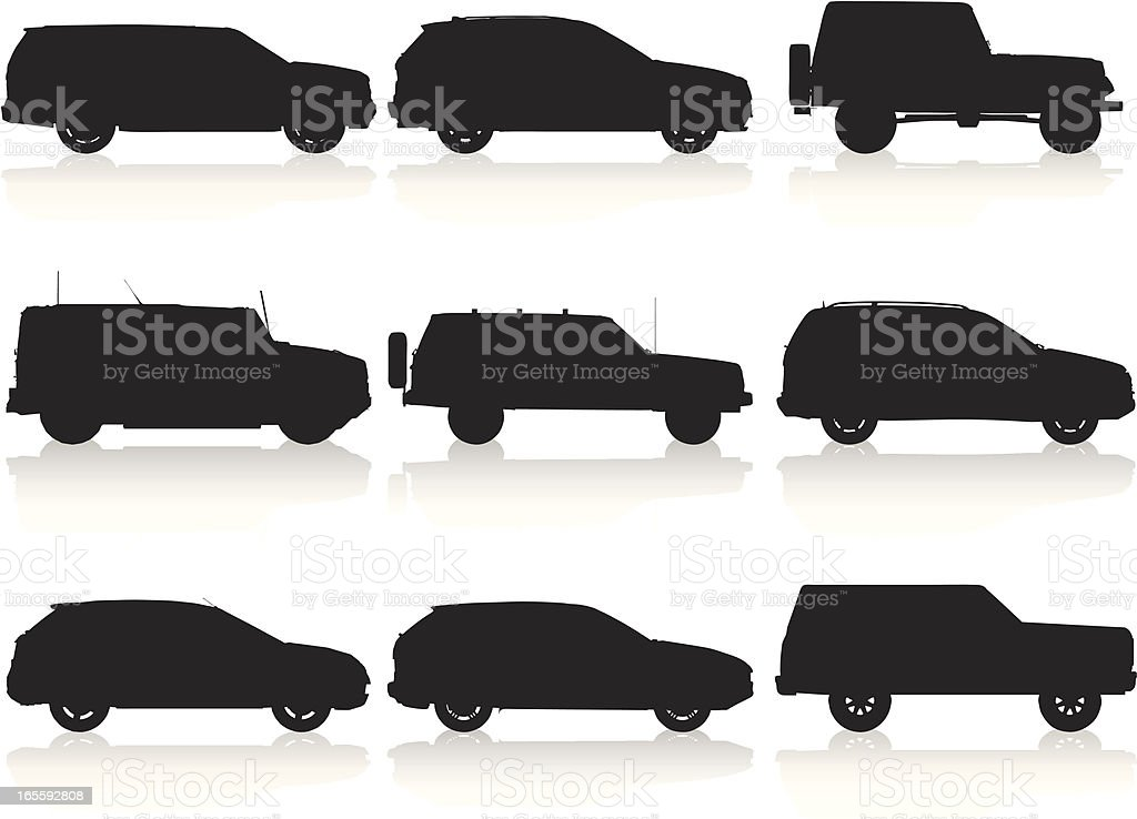 SUV Silhouette Colllection royalty-free stock vector art