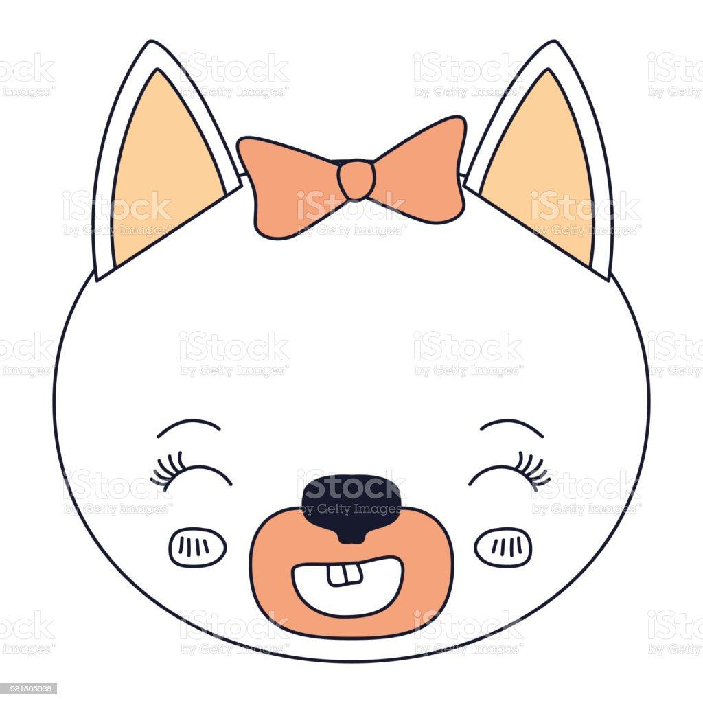 シルエット カラー セクションの顔笑顔式メス猫動物