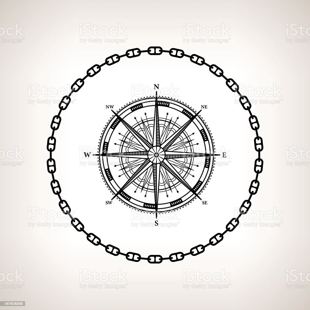Silhouette compass rose on a light background vector art illustration
