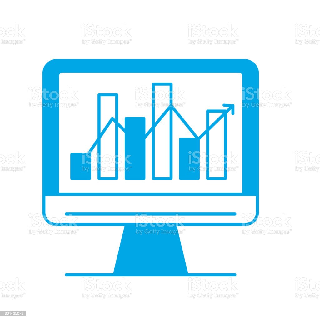 Silhouette Computer Technology With Statistics Bar Diagram Stock Royalty Free