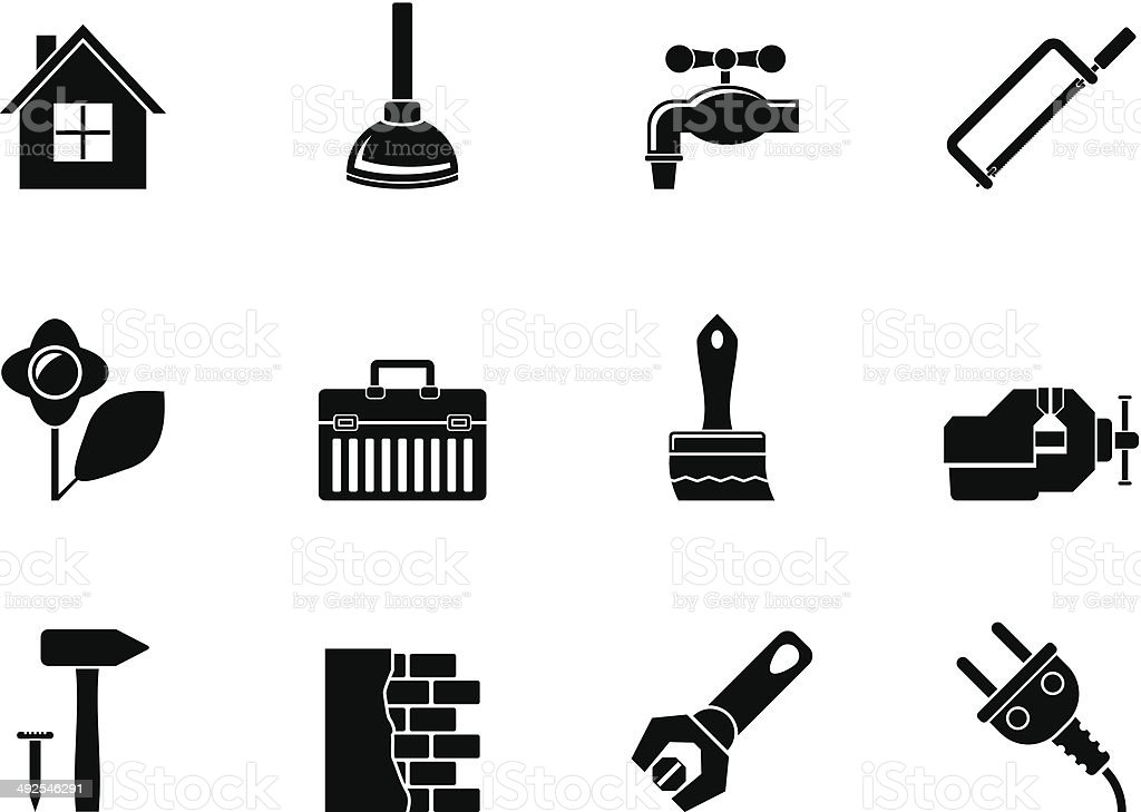 Silhouette construction and do it yourself icons stock vector art silhouette construction and do it yourself icons royalty free silhouette construction and do it yourself solutioingenieria Images
