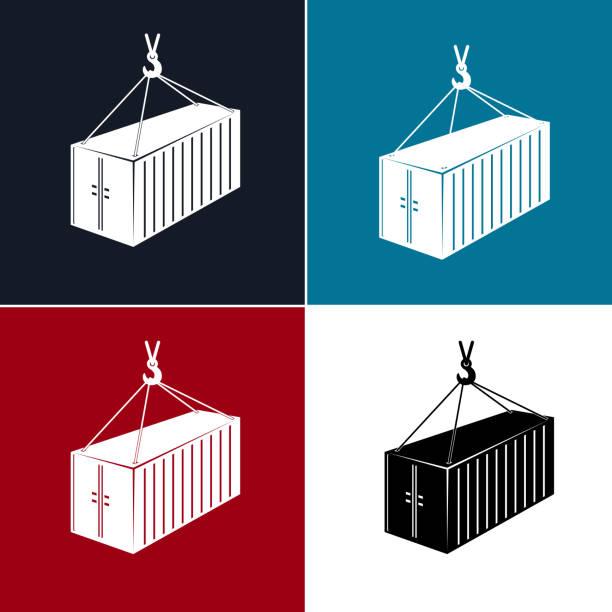 stockillustraties, clipart, cartoons en iconen met silhouet container met kraan geïsoleerd - vrachtcontainer