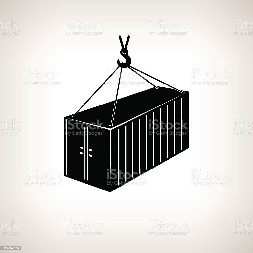 Silhouette container with crane on a light background, vector illustration vector art illustration
