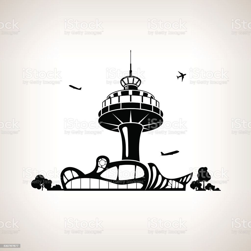 Silhouette control tower at the airport, vector illustration vector art illustration
