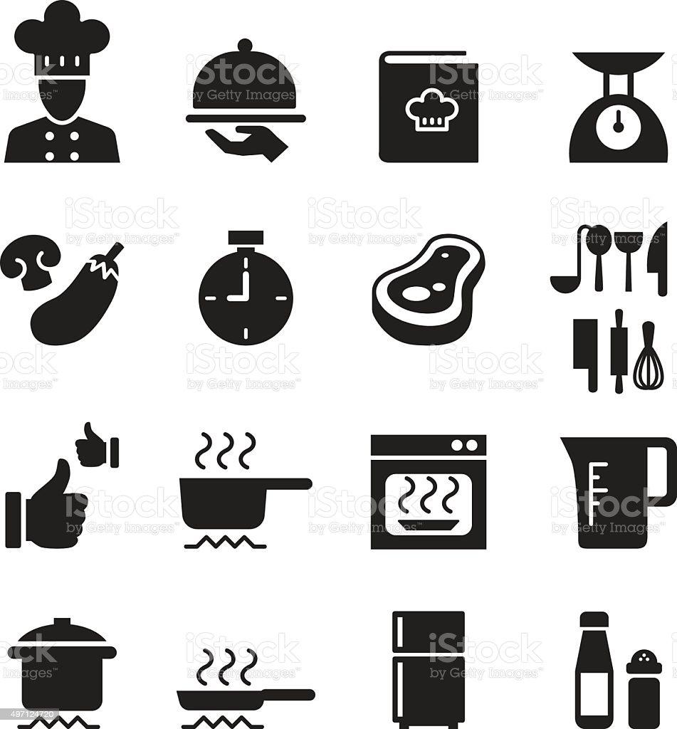 Silhouette Cooking, Restuarant icon set vector art illustration