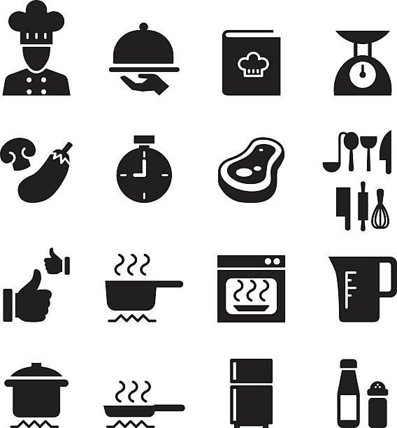 bildbanksillustrationer, clip art samt tecknat material och ikoner med silhouette cooking, restuarant icon set - frying pan