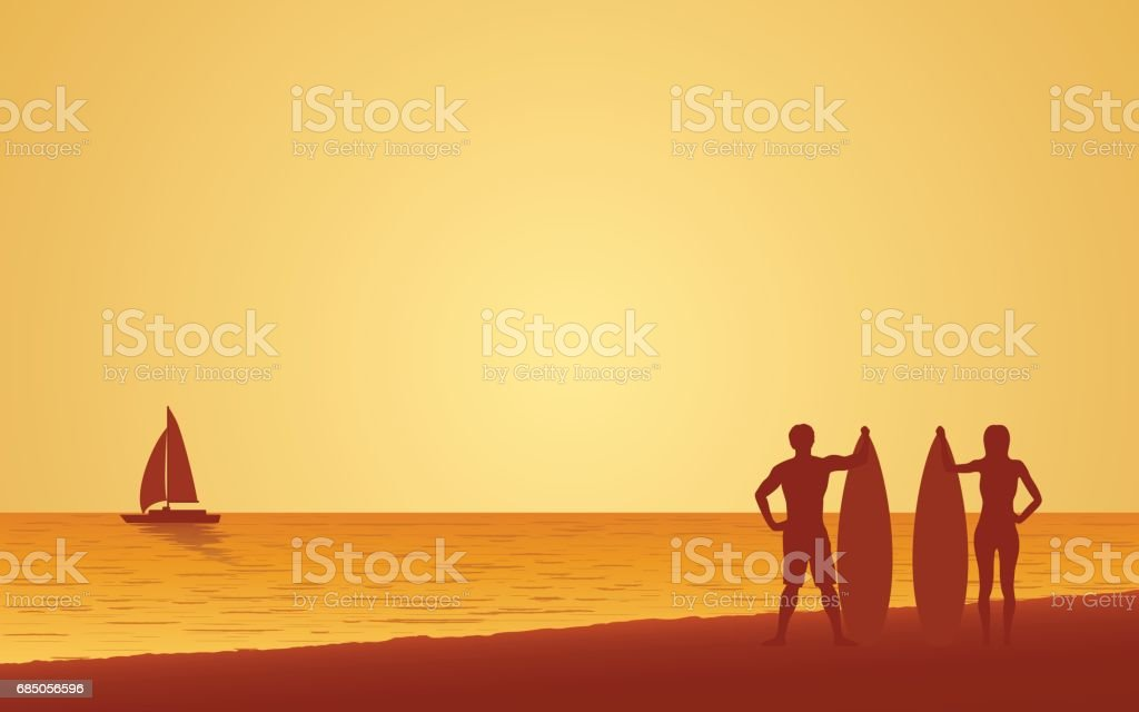 Silhouette couple surfer carrying surfboard on beach under sunset sky background vector art illustration