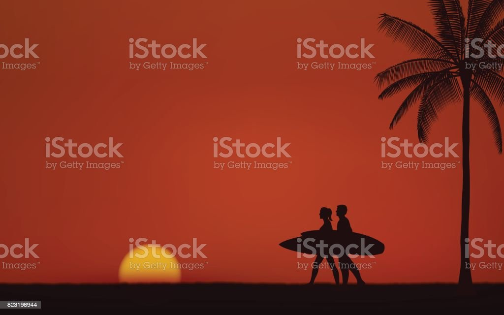 Silhouette couple surfer carrying surfboard on beach under sunset sky background in flat icon design vector art illustration