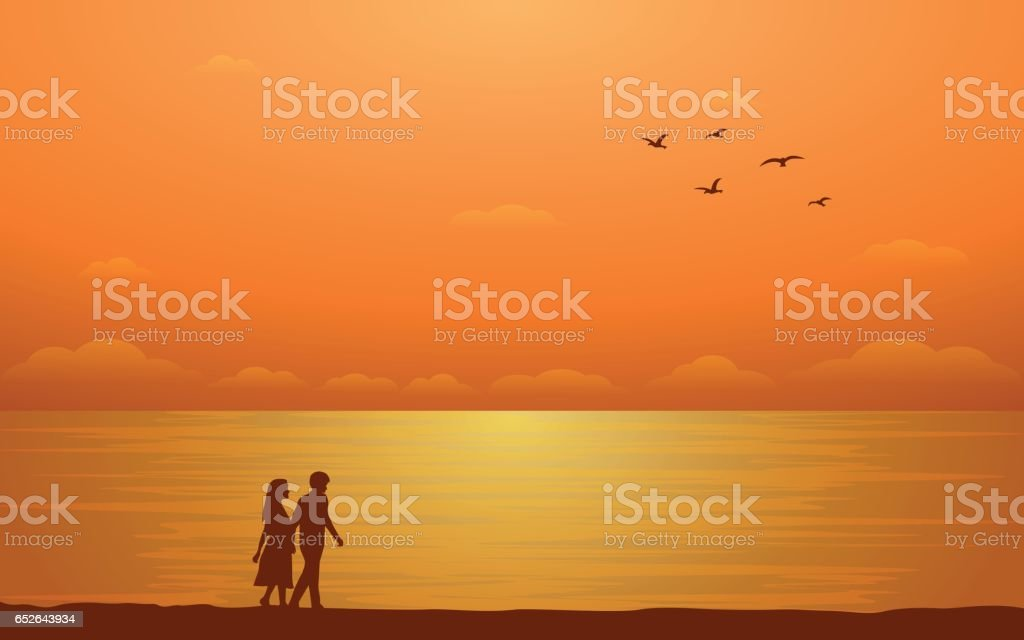 Silhouette couple walking on beach with sunset sky background (vector) vector art illustration