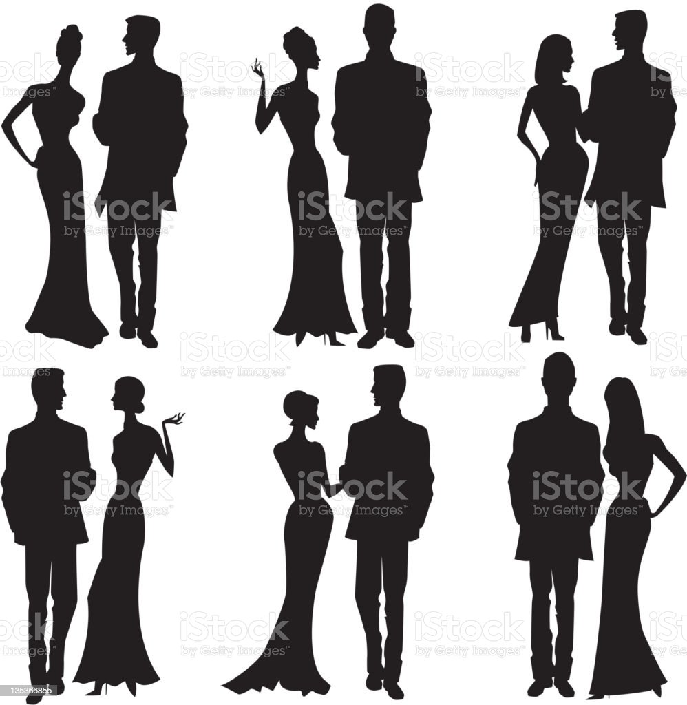 Silhouette couples dresses up, party dress, formal vector art illustration