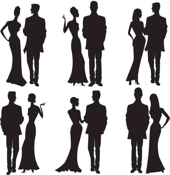silhouette couples dresses up, party dress, formal - prom fashion stock illustrations, clip art, cartoons, & icons