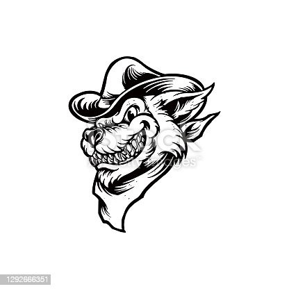 Silhouette Cowboy Wolf Clipart for your work Logo merchandise t-shirt, stickers and Label, poster, greeting cards advertising business company or brands.