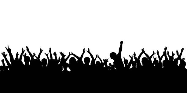 Silhouette crowd cheering Silhouette crowd cheering crowd of people stock illustrations