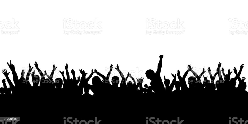 Silhouette crowd cheering vector art illustration