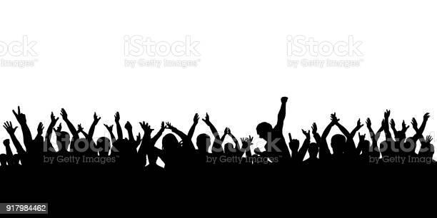 シルエット観衆の喝采 - お祝いのベクターアート素材や画像を多数ご用意