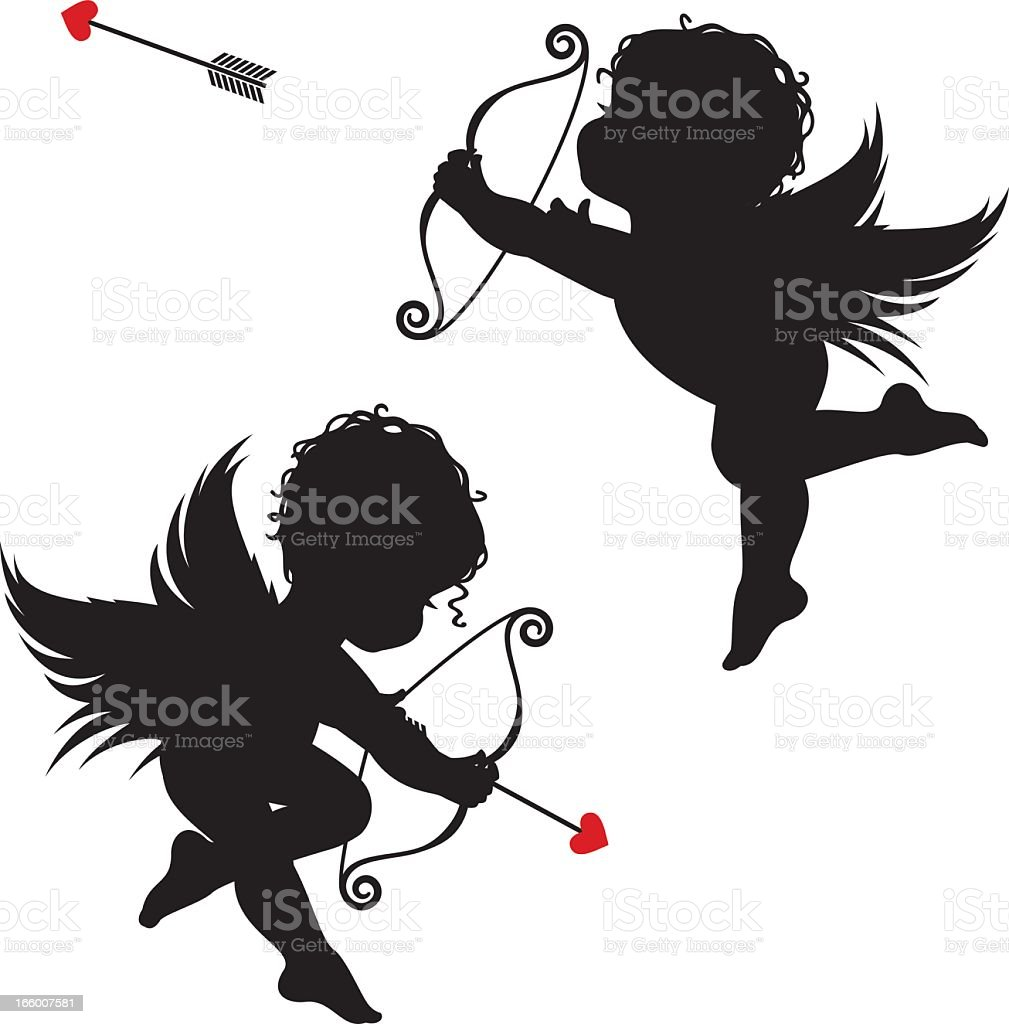Silhouette cupids royalty-free stock vector art