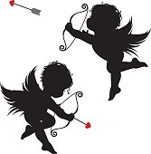 Cupid in two positions firing his arrow on Valentines day